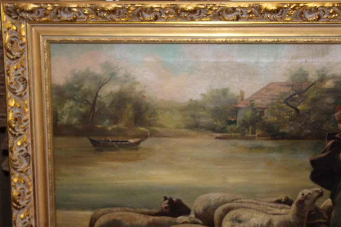 An Oil on Canvas of Sheep and Shepard - 2