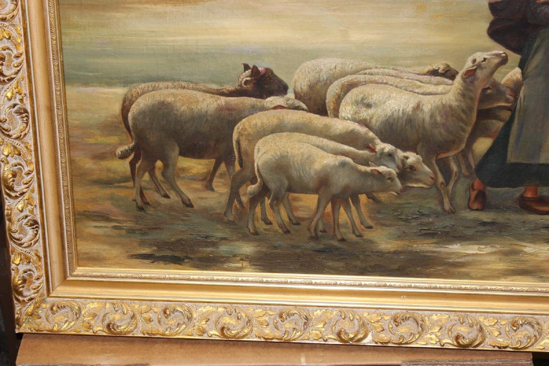 An Oil on Canvas of Sheep and Shepard - 3