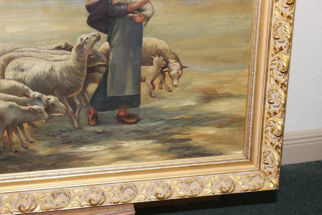 An Oil on Canvas of Sheep and Shepard - 4
