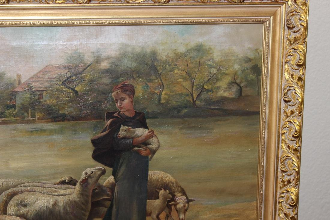 An Oil on Canvas of Sheep and Shepard - 5