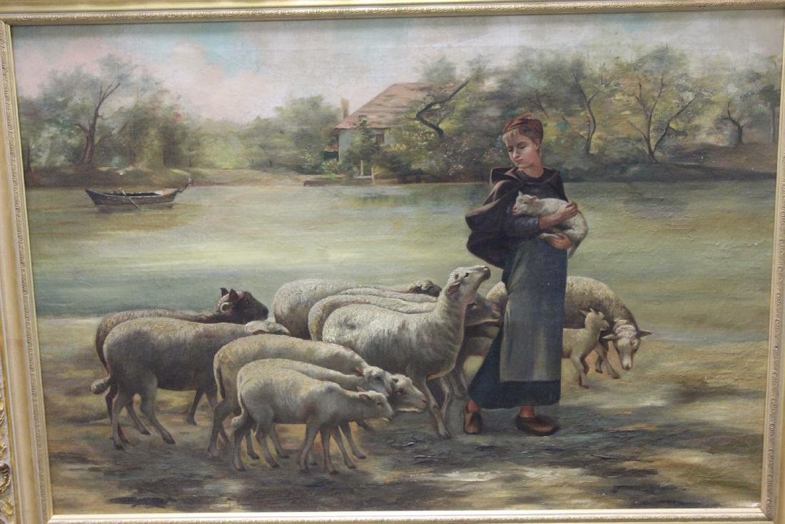 An Oil on Canvas of Sheep and Shepard - 6