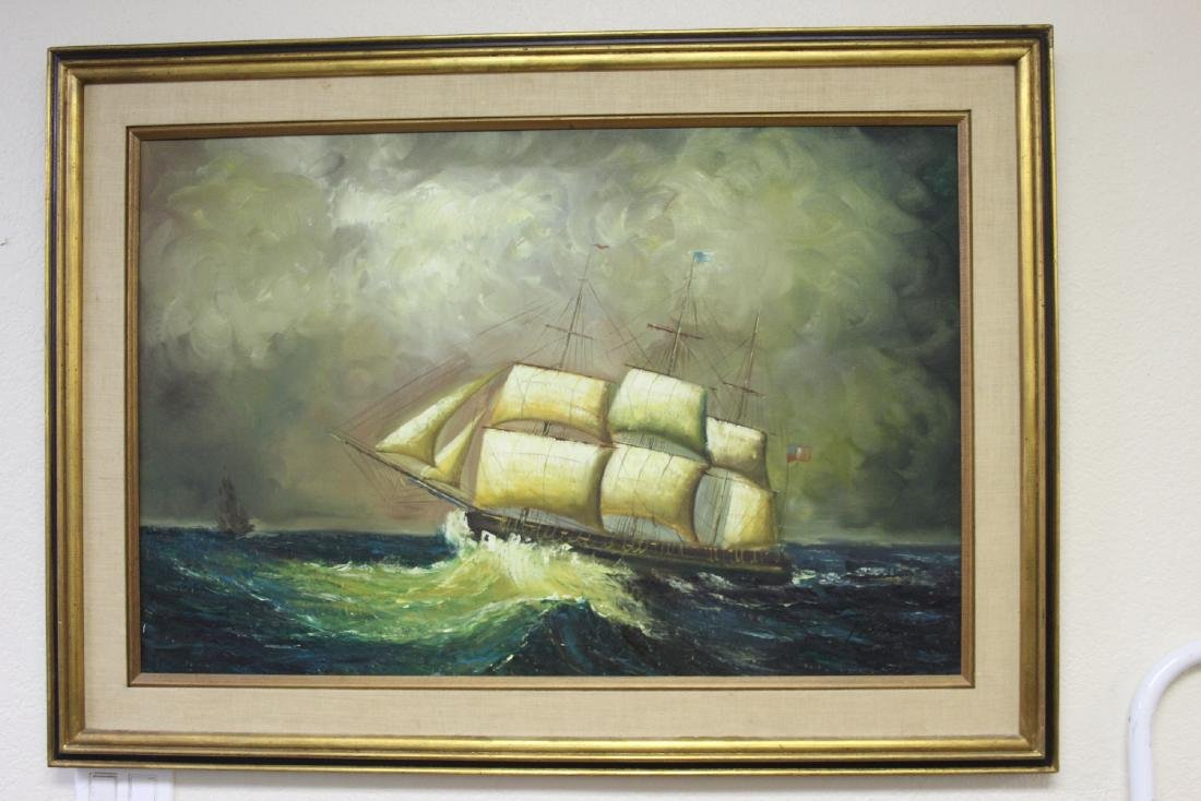 An Oil on Canvas of a Clipper Ship