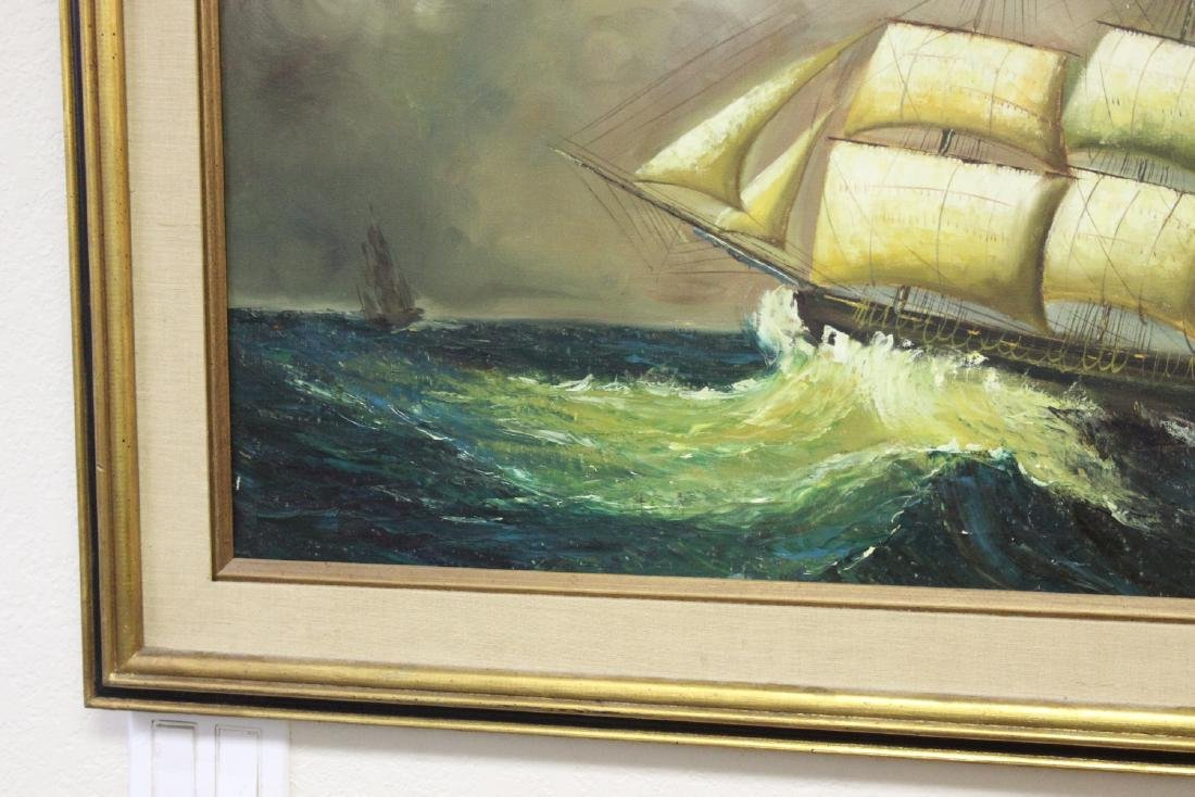 An Oil on Canvas of a Clipper Ship - 5