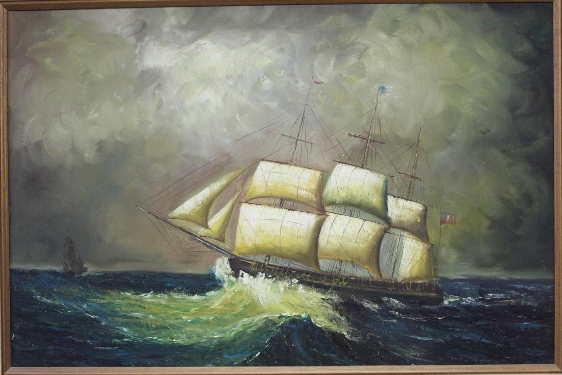 An Oil on Canvas of a Clipper Ship - 6