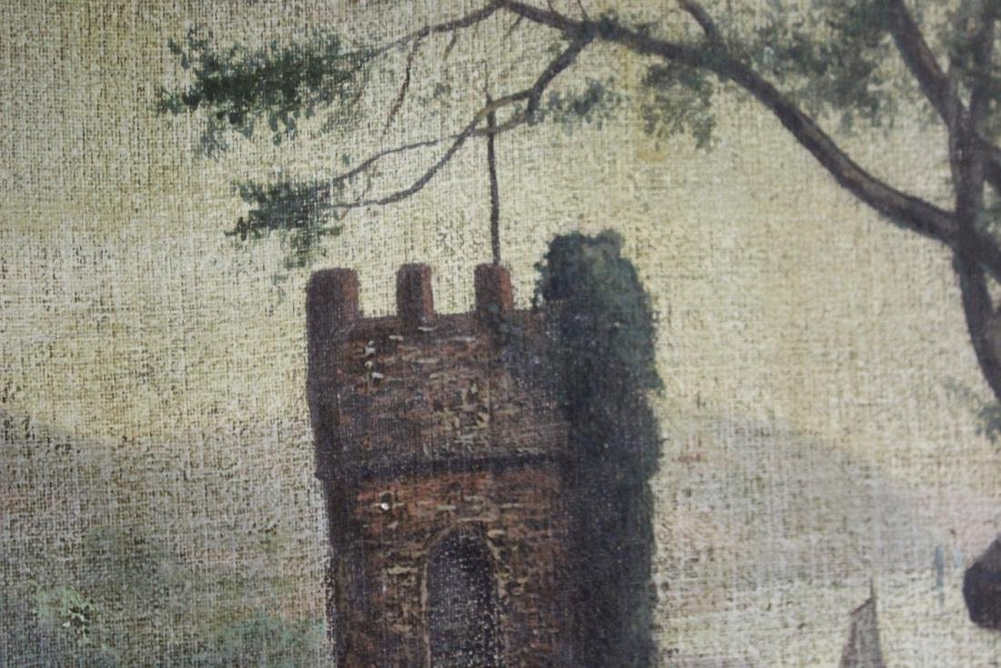 An Oil on Canvas Board Old Painting of a Castle - 10