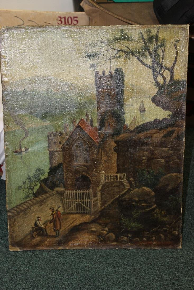 An Oil on Canvas Board Old Painting of a Castle