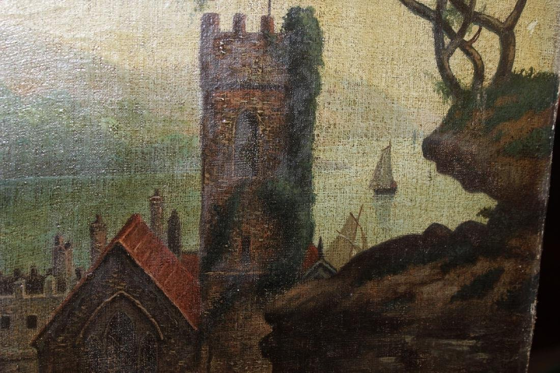 An Oil on Canvas Board Old Painting of a Castle - 2