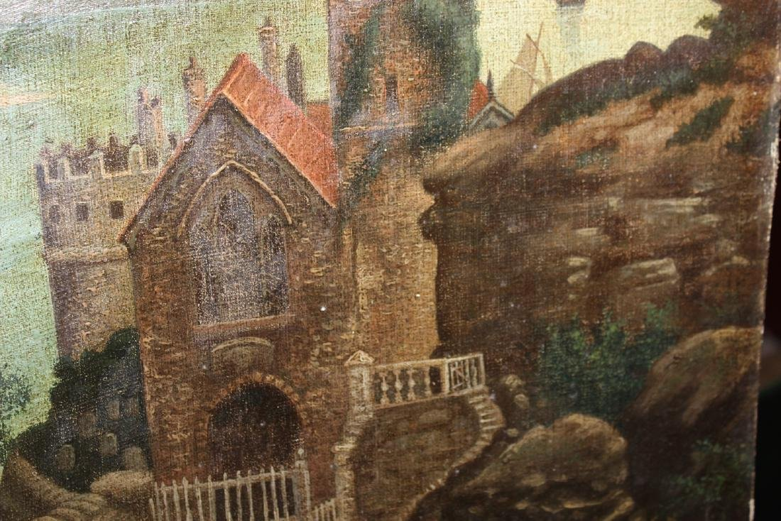 An Oil on Canvas Board Old Painting of a Castle - 3