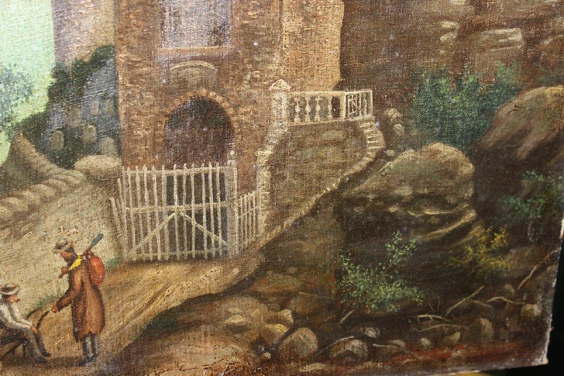 An Oil on Canvas Board Old Painting of a Castle - 4