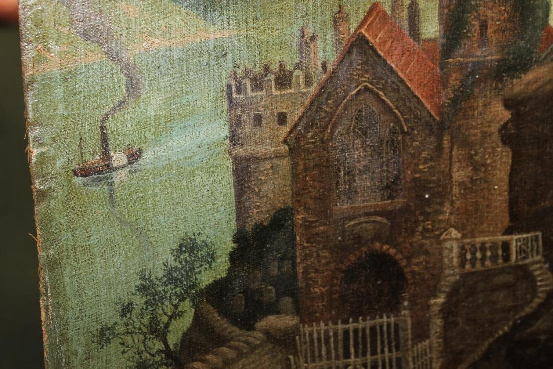 An Oil on Canvas Board Old Painting of a Castle - 6