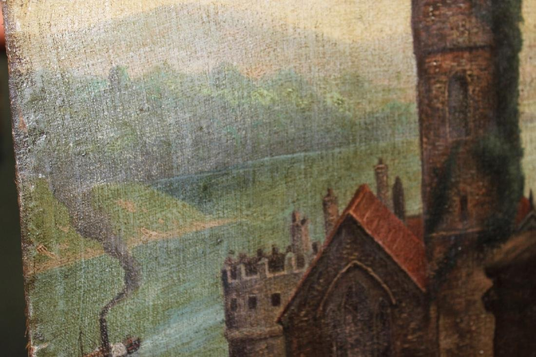 An Oil on Canvas Board Old Painting of a Castle - 7