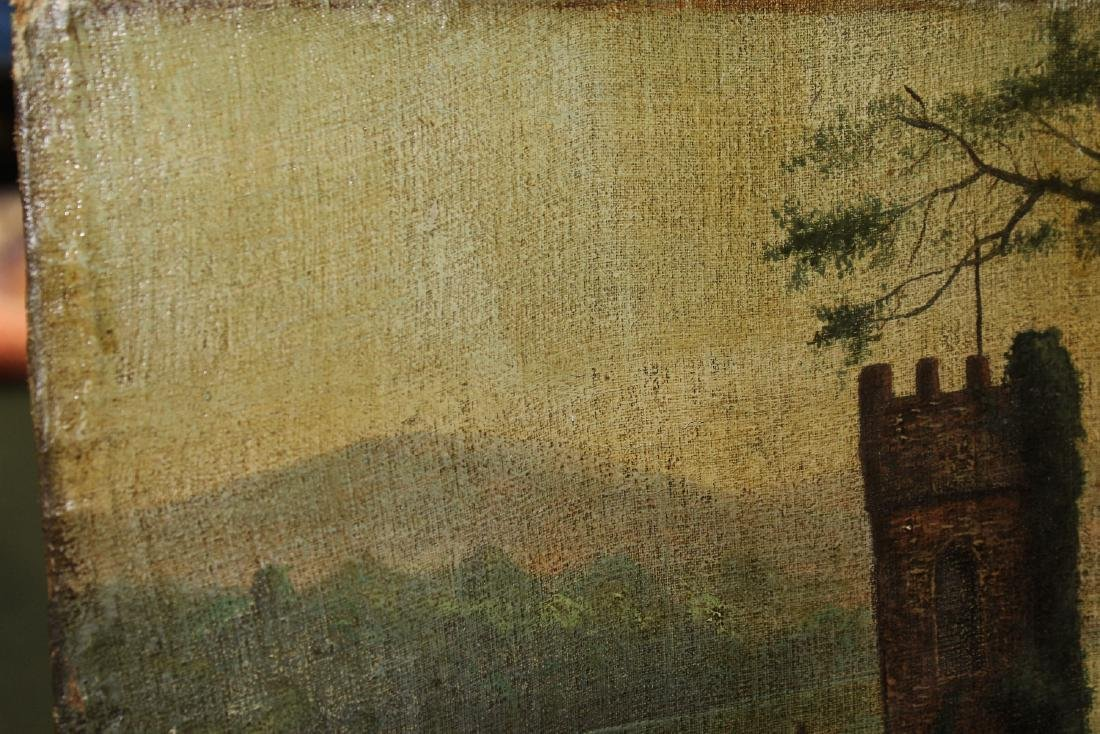An Oil on Canvas Board Old Painting of a Castle - 8