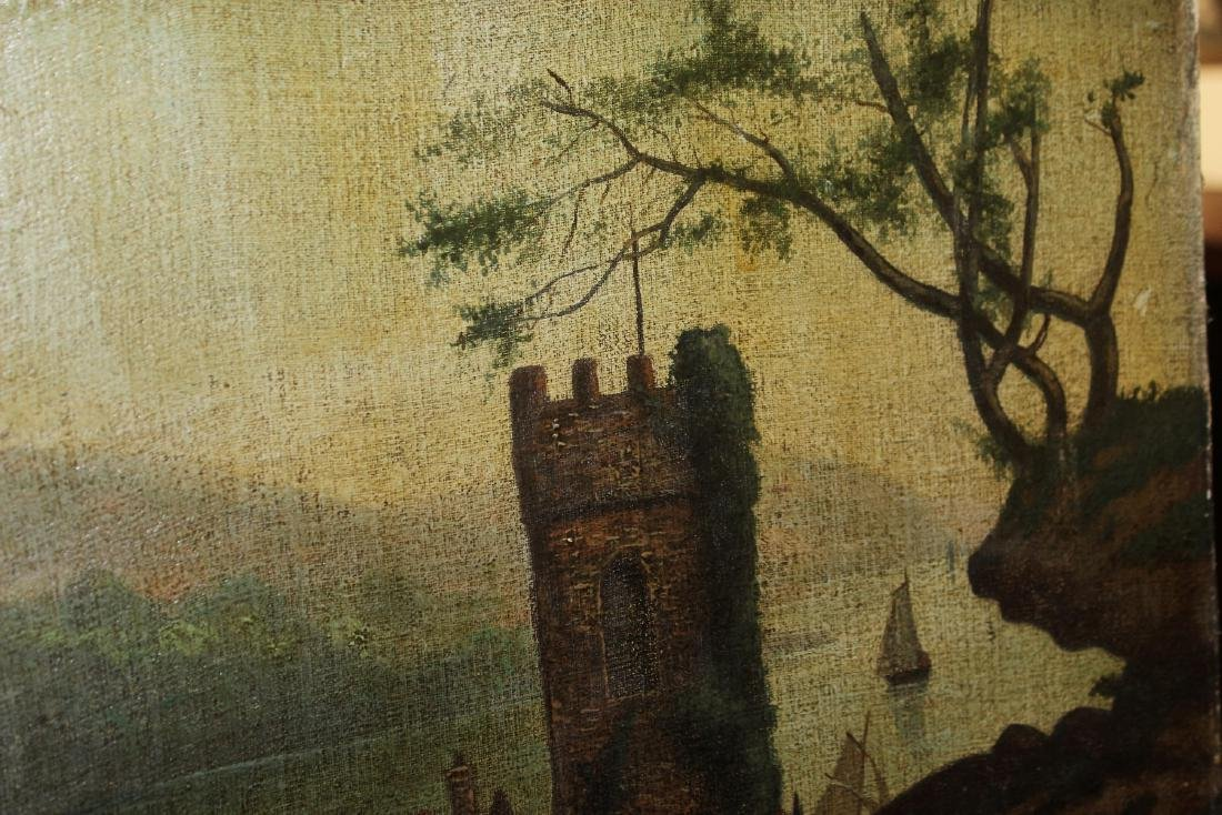 An Oil on Canvas Board Old Painting of a Castle - 9