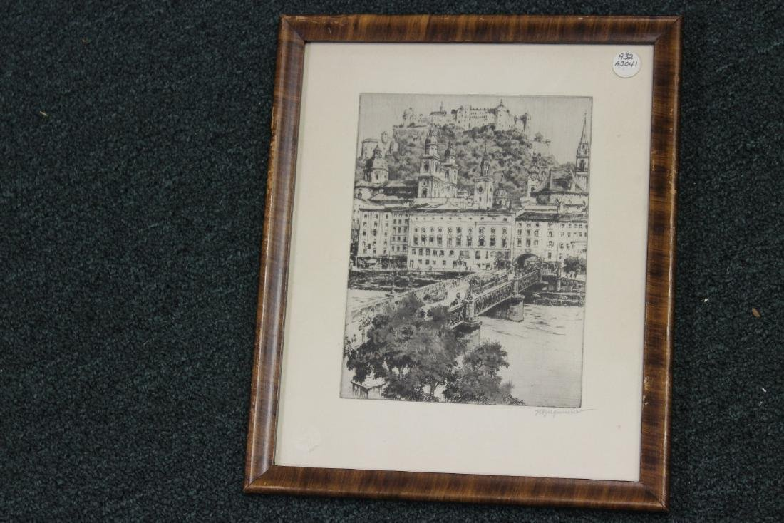 An Antique Etching by German Listed Artist Herman