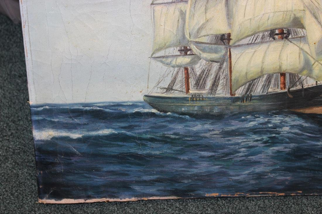 An Antique Oil on Canvas of a Clipper Ship - 10