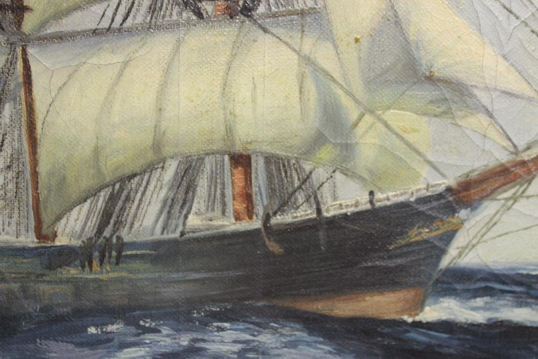 An Antique Oil on Canvas of a Clipper Ship - 4