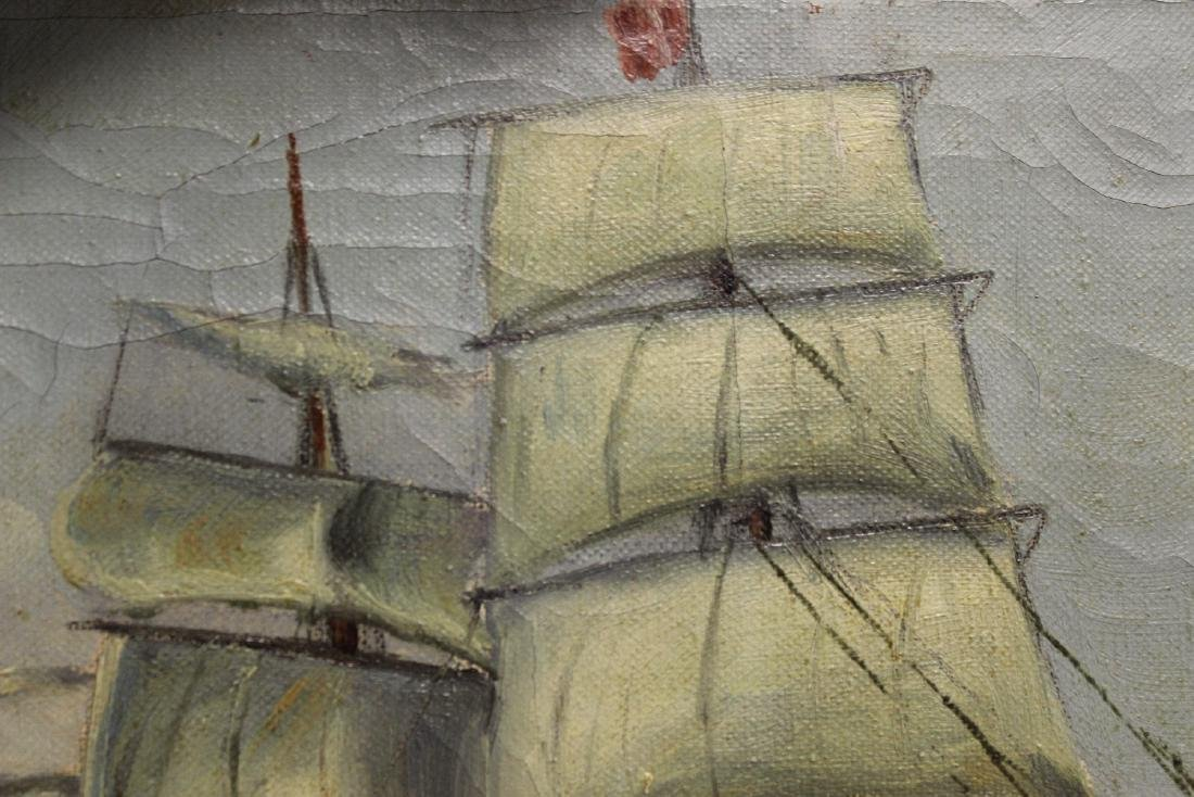 An Antique Oil on Canvas of a Clipper Ship - 6