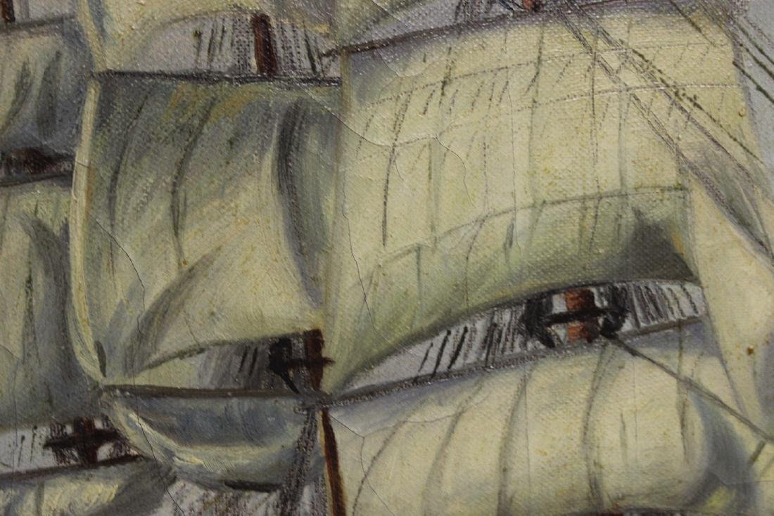 An Antique Oil on Canvas of a Clipper Ship - 8