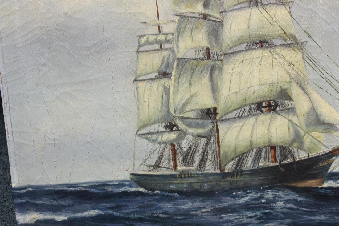 An Antique Oil on Canvas of a Clipper Ship - 9