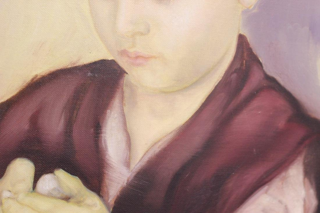 An Oil on Canvas of a Boy - 4