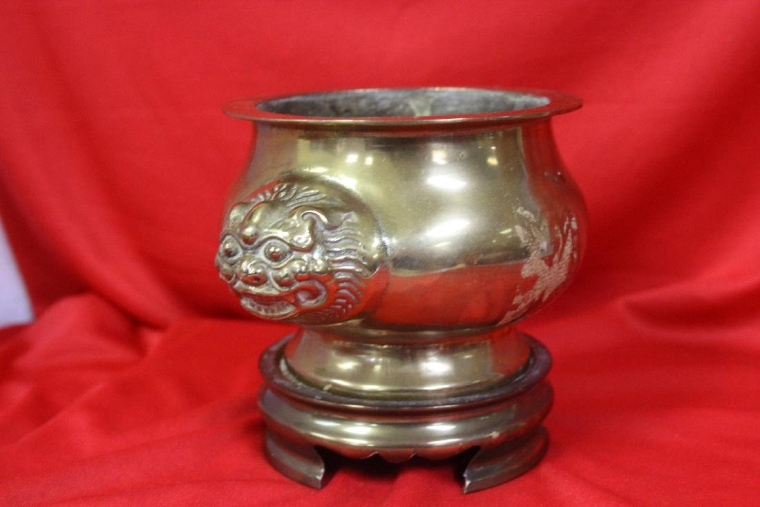A Chinese Brass Urn on Stand - 2