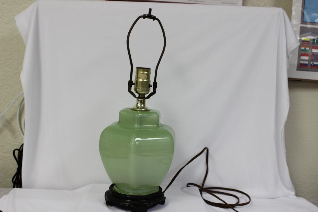 A Green Glass Lamp