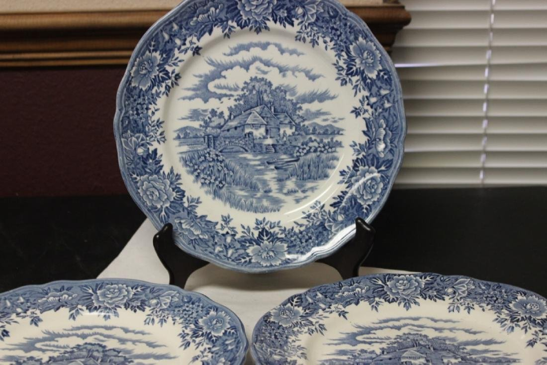 Set of 3 Blue and White Staffordshire Plates