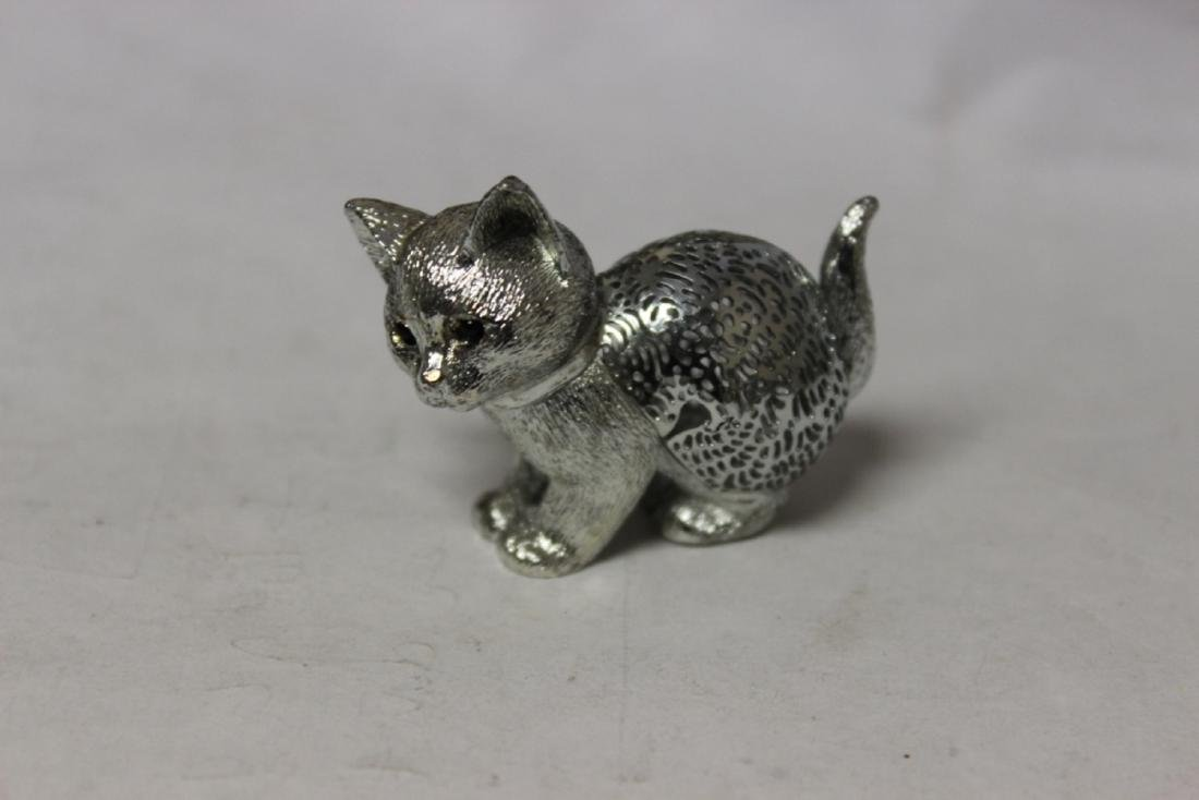 A Silverplated Christofle Small Cat