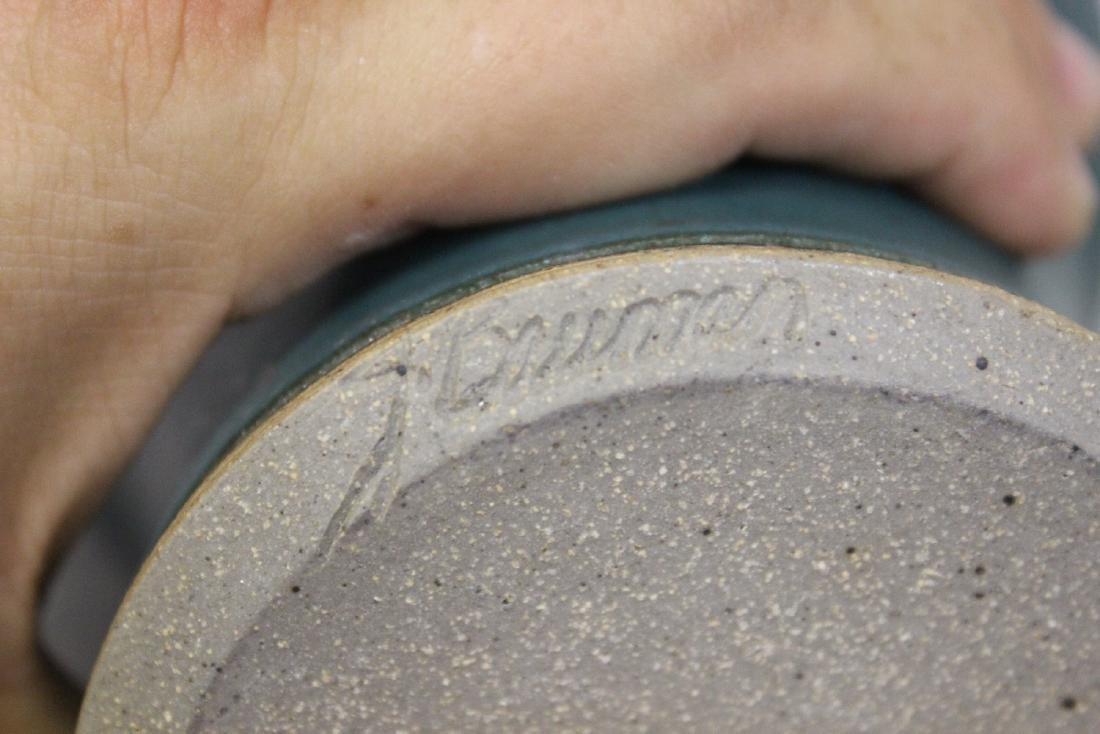A Signed J. Bauman Blue Pitcher - 8