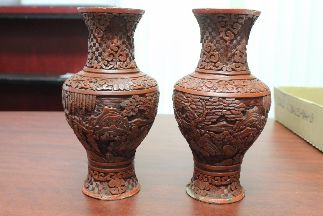 a Pair of Chinese Cinnabar Vases