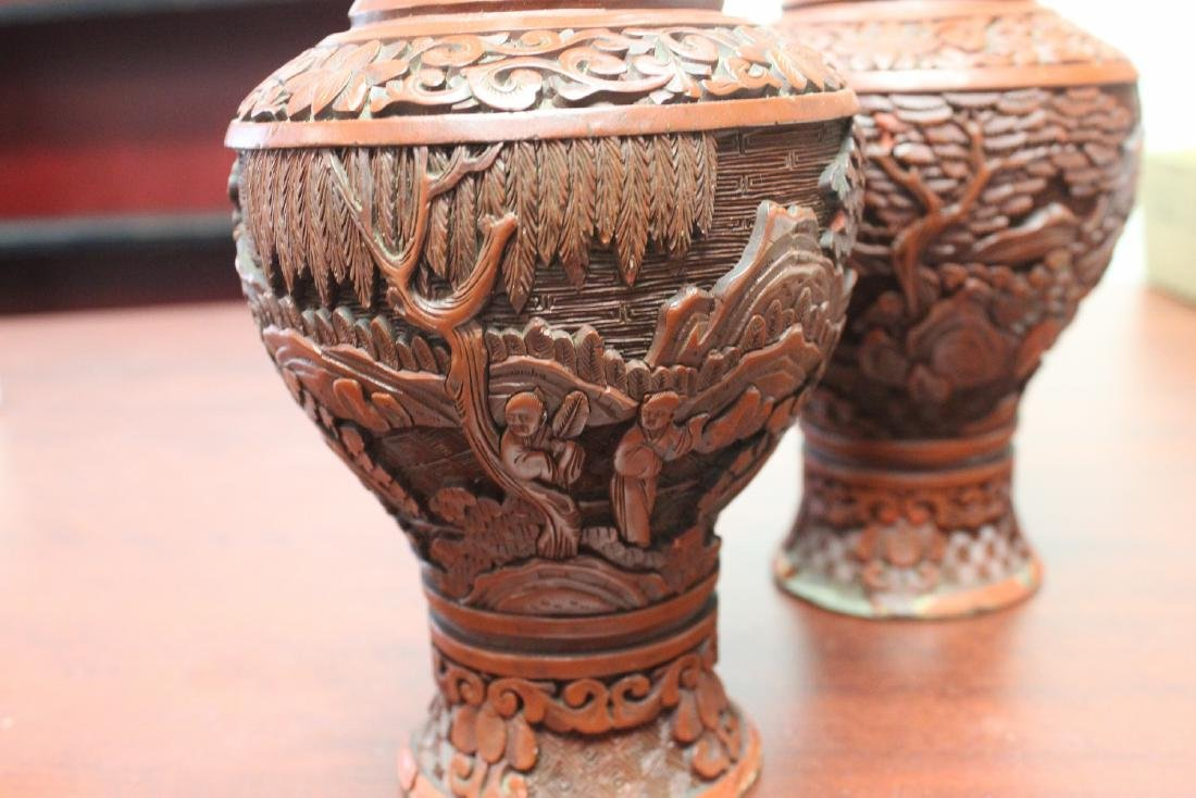 a Pair of Chinese Cinnabar Vases - 4