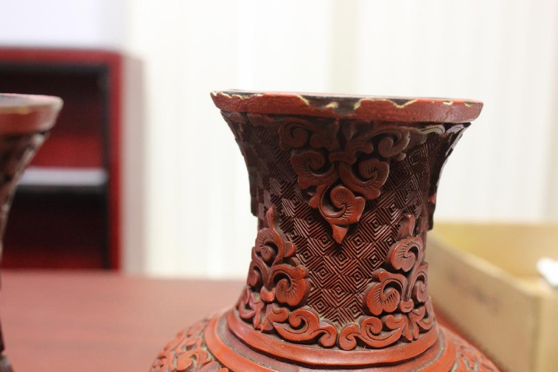 a Pair of Chinese Cinnabar Vases - 5