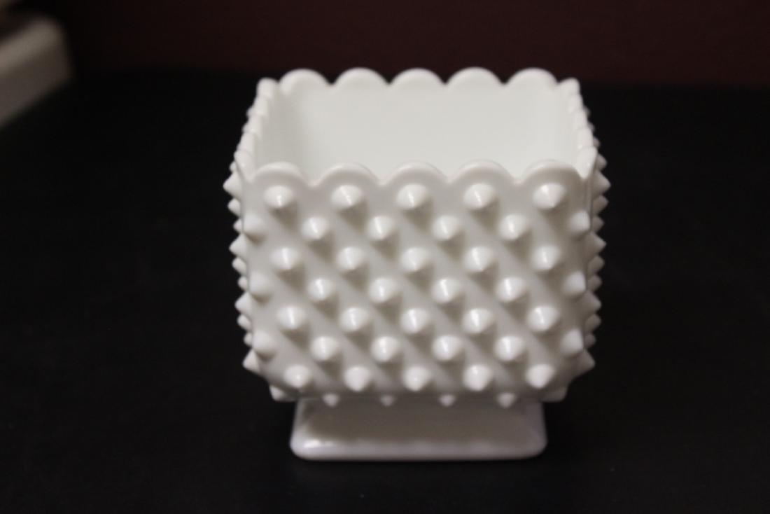 A Square Milk Glass Planter - 2
