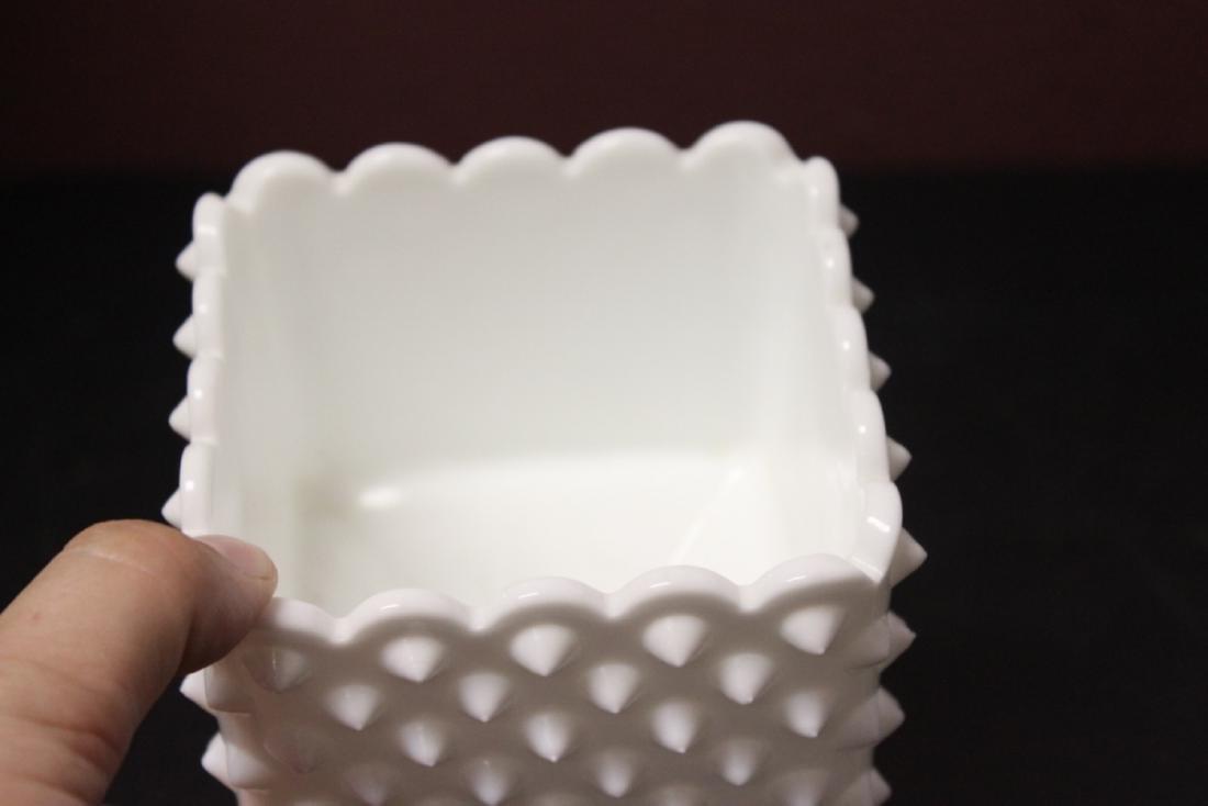A Square Milk Glass Planter - 3