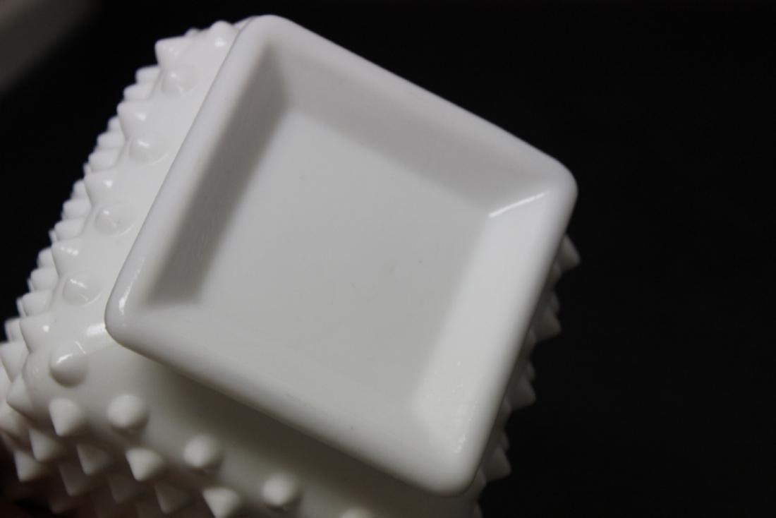 A Square Milk Glass Planter - 5