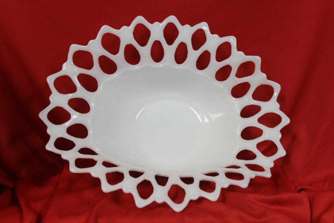 A Reticulated Milk Glass Bowl - 2