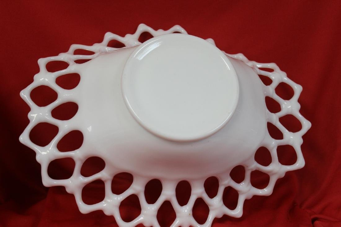 A Reticulated Milk Glass Bowl - 4