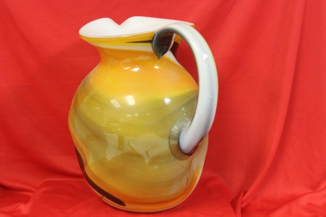 A Large Art Glass Pitcher - 2