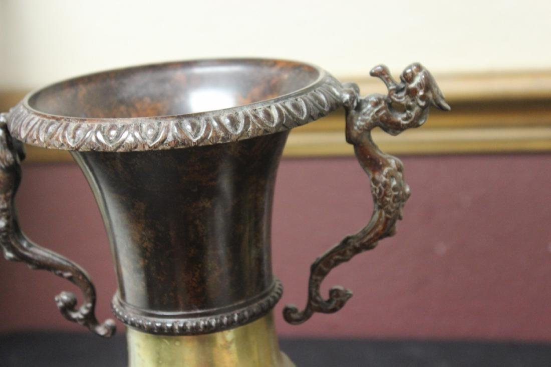 A Bronze Urn on Marble Base - 5