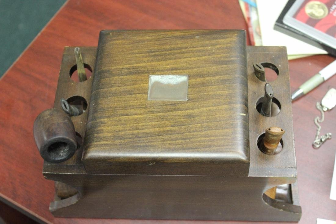 A Wooden Cigar Pipe Holder and Seven Pipes - 7