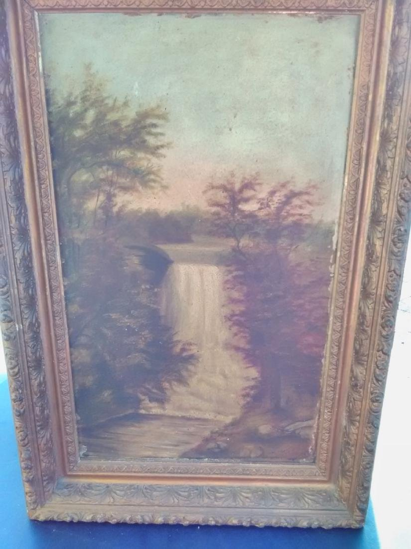 An Oil On Board 19th Century Waterfall - Unsigned