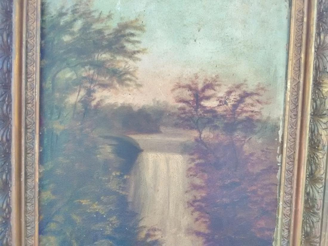 An Oil On Board 19th Century Waterfall - Unsigned - 6