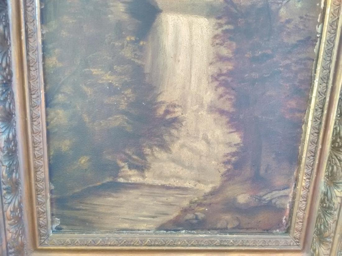 An Oil On Board 19th Century Waterfall - Unsigned - 7