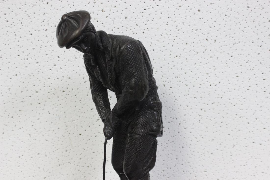 A Bronze Golfer Statue on Marble Base - 2
