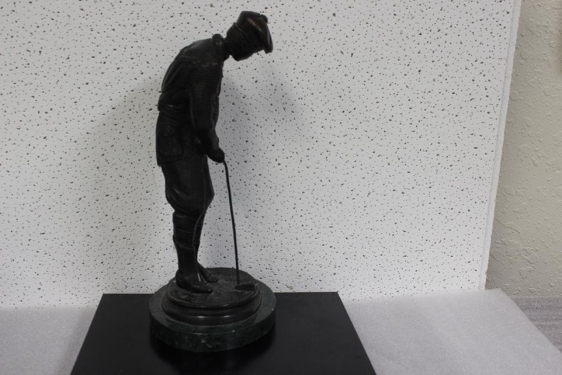 A Bronze Golfer Statue on Marble Base - 6