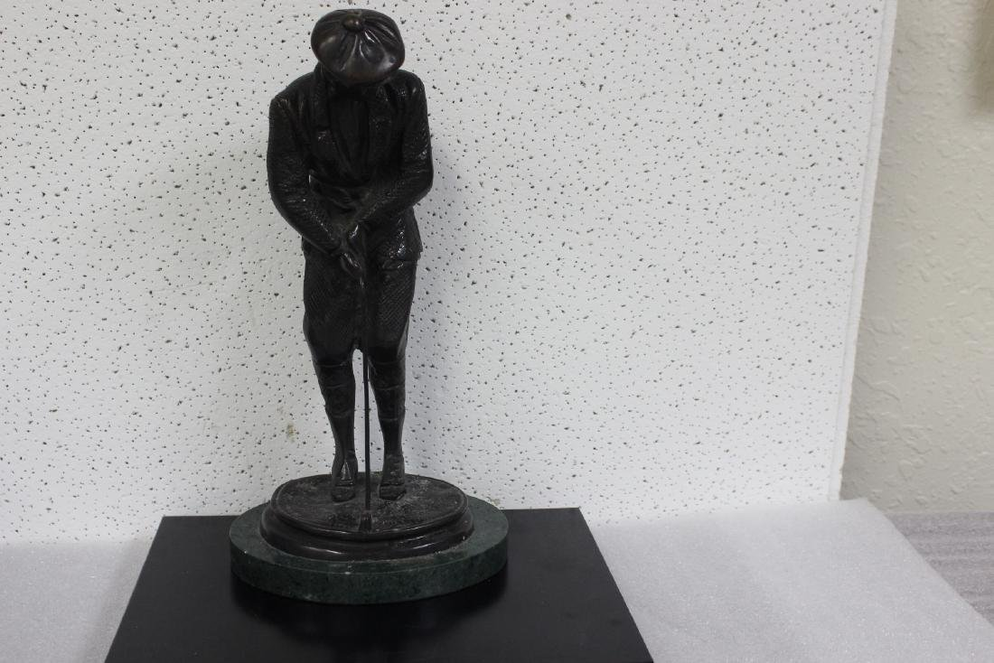 A Bronze Golfer Statue on Marble Base - 7