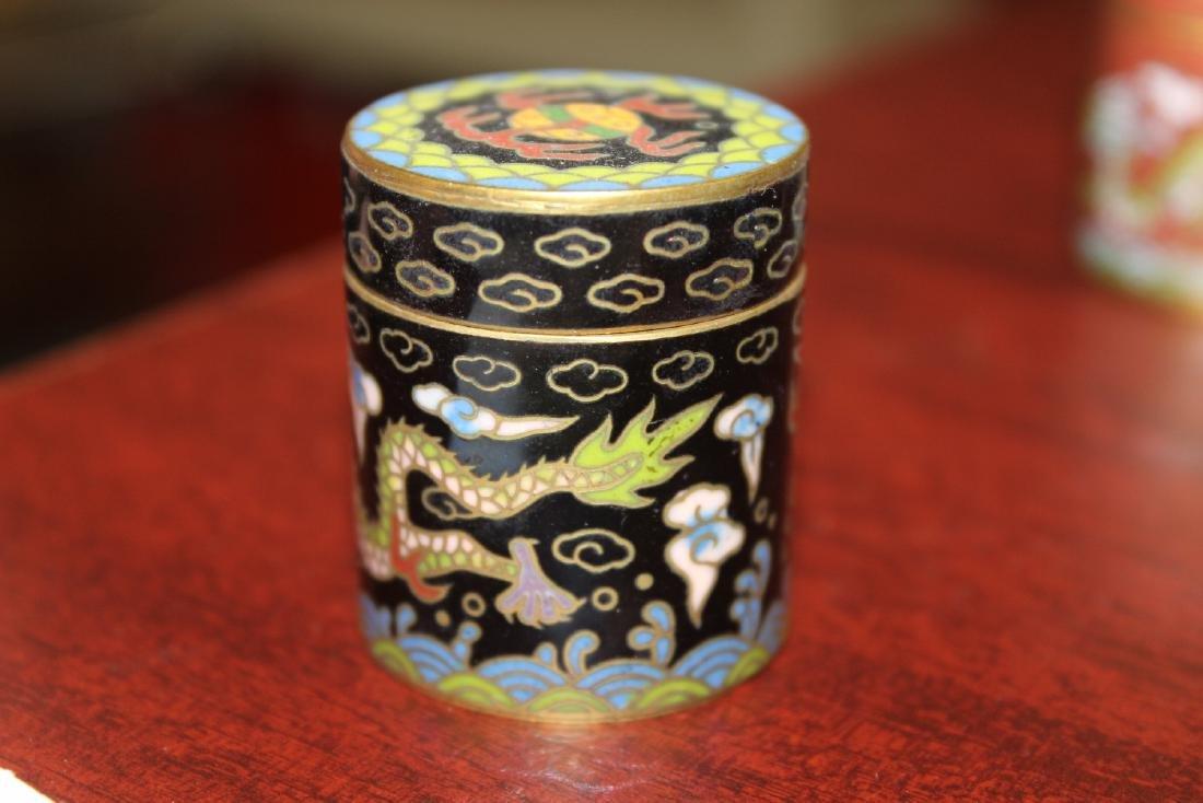 A Vintage Chinese Cloisonne Cylinder Trinket Box - 3