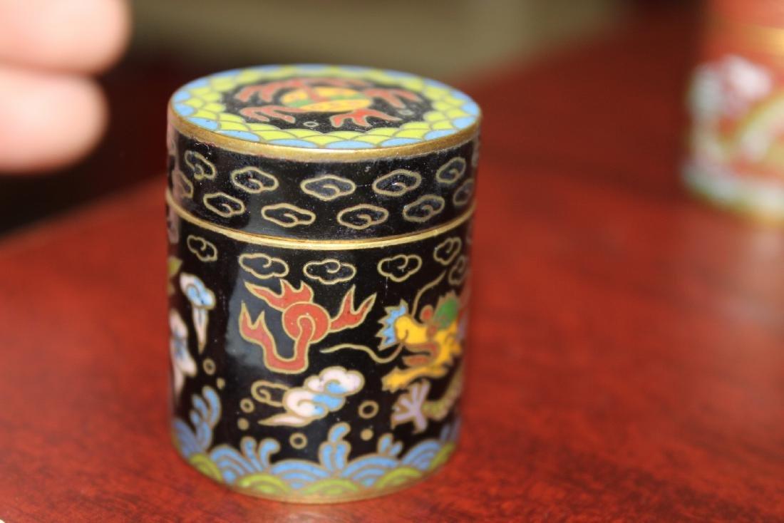 A Vintage Chinese Cloisonne Cylinder Trinket Box - 4