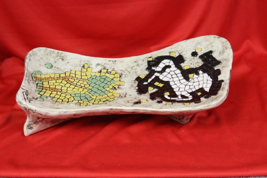 A Signed Retro Mosaic Style Ashtray