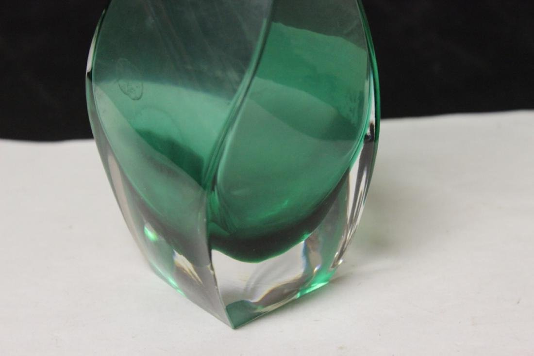 A Green Swill Glass Vase - 2